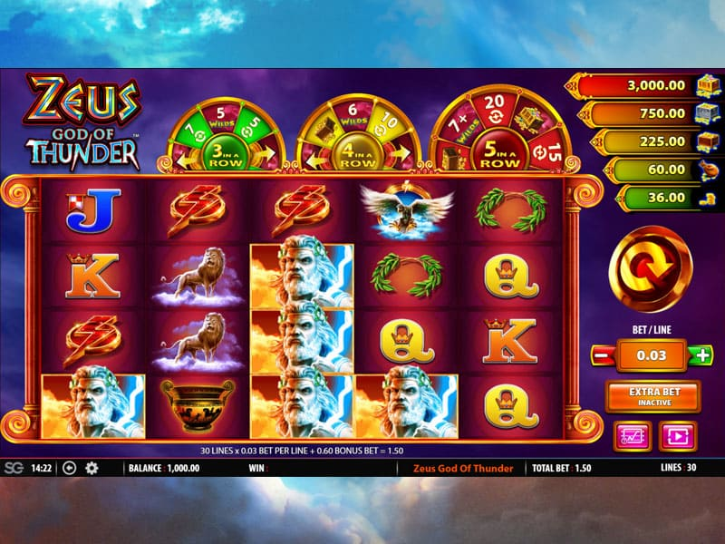 Zeus God Of Thunder Slot Machine At Eu Casino How To